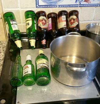 Drying the bottles.