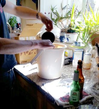 Sterilising the bottles.